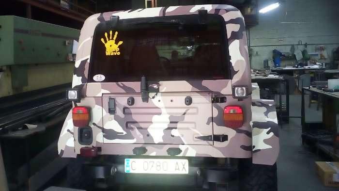 Rotulacion de vehiculos con vinilo de corte a un solo color proyecto Jeep US Army 03