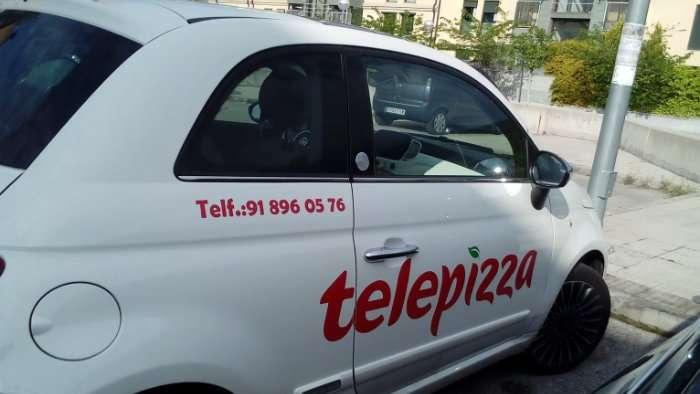 Rotulacion de vehiculos con vinilo de corte a un solo color proyecto Telepizza 01