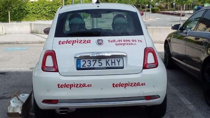 Rotulacion de vehiculos con vinilo de corte a un solo color proyecto Telepizza 03